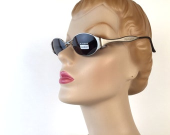 Vintage 90s YSL Oval Sunglasses, Silver Metal, Charcoal Lens, Yves Saint Laurent, Model 6048, Deadstock, Made in Italy, Sharp Chic!