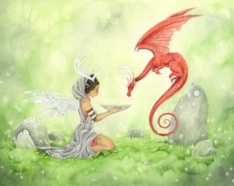 Fairy Art Watercolor Print - The Oracle - fantasy. dragon. mystical. seer. red. magic. whimsical. divination. silver. grey.