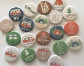 set of 20 camping 1 inch or 1.25 inch buttons pinback flatback or hollowback