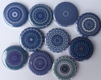 "Lot of  10 mandala pattern  1.25""  or 1""  buttons pinback flatback hollowback or magnet you choose"
