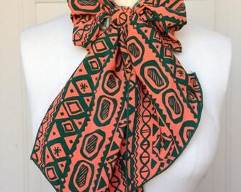 Multi Use Brushed Satin Scarf - Orange and Green Tiki