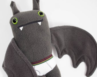 Flasher Bat! Handmade plush bat in tiny tighty whities....Custom stuffed animal...Rainbow waist band