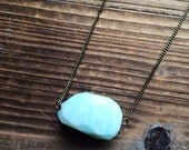 Sale Faceted Opal Pendant Necklace Handmade in Indiana Salame Jewelry Designs Brass Stacking Necklace Brass Necklace Pale Blue Opal Common O