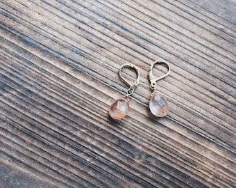Strawberry Quartz Earrings and Gold Plated Hinge Hook Gold Earrings Handmade in Indiana by Salame Littles Gemstone Collection Quartz Drops