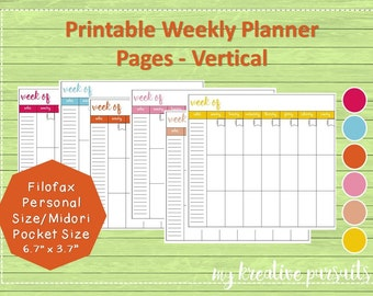 Weekly Planner Pages - Vertical Layout, Bullet Journal Pages, Midori Inserts, Printables