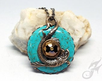 Brass & Turquoise Howlite Pendant Featuring Dolphin Fish with Bronze Crystal on Brass Chain ~ Hand Rubbed Patina ~ No Glue - #P0052 by RTD