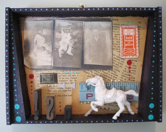 Mixed media shadow box, assemblage art, funky junk