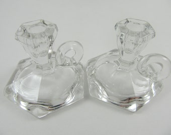 Pair Of Vintage Imperial Glass Toy Candlesticks