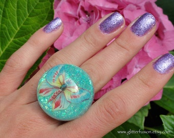 Turquoise Glitter Butterfly Boho Fantasy Resin Bubble Ring, Nature Inspired Boho Glam Resin Ring, Insect in Resin Cruelty Free Vegan Ring