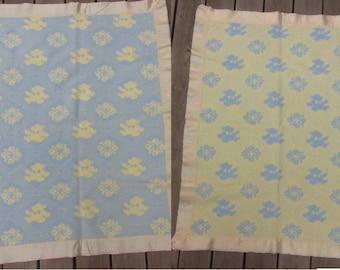50s Teddy Bear Blanket REVERSIBLE Blue Yellow Cotton Soft Fuzzy