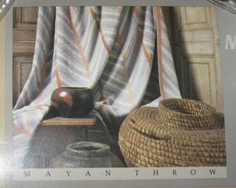 Vintage NIP Jack Lenor Larsen Martex Mayan Gray Beige Cotton Terrycloth Blanket New and Unsued