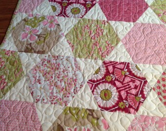 Quilt baby girl crib hexagon pink green floral -- Joel Dewberry Modern Meadow
