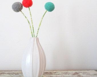 Coral, mint, grey felt flowers.  Modern pom pom flowers.  Needle felted Wool felt ball blossoms.  Coral, green nursery decor.  Round flowers