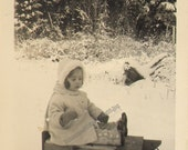 Sweet Baby Girl sits on Sled waits for a Pull Vintage photo K19003 Little Girl Boots Hat Coat Sweetness