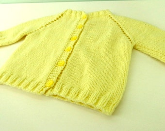 Vintage Cardigan, Hand Knitted Sweaters, Yellow Sweater, Toddler Sweater, Cardigan Style Sweater