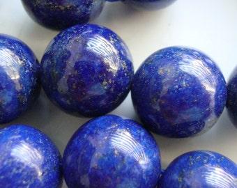1/2 Strand, 13.5-14mm, Midnight Blue Lapis Lazuli Round Smooth Beads