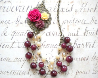 Flower Necklace Rose Statement Necklace Burgundy Necklace Multi Strand Necklace Gift For Sister Romantic Bridesmaid Jewelry Maroon Necklace