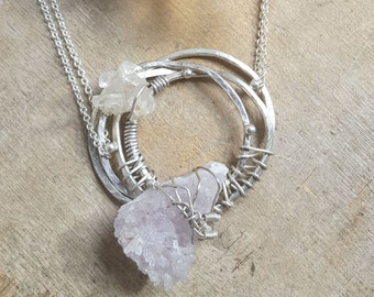 HANDMADE// Raw Amethyst and Quartz Crystal Wire Wrapped Metalsmith Sterling Silver Necklace
