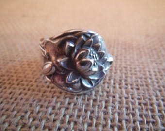 Antique Spoon Ring  Sterling Silver  Size 7 and three fourths