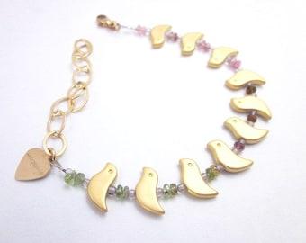 Tourmaline Bead Bracelet -- Gold Bird Bracelet -- Dainty Bead Bracelet -- Bird Bead Bracelet -- Tourmaline & Gold Bracelet --Mantra Bracelet