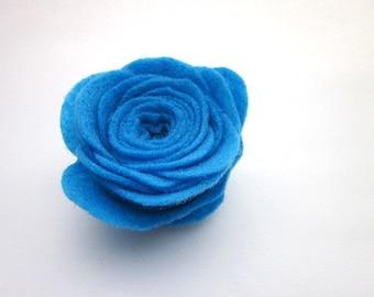 Large Blue Flower Pin -- Blue Flower Brooch -- Blue Felt Flower -- Felt Flower Pin Accessory -- Large Felt Pin -- Bright Blue Brooch