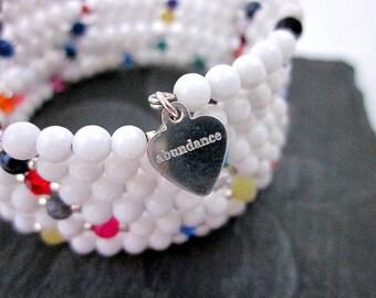 White Jade Bracelet -- Jade & Crystal Bracelet -- Multi Colored Bracelet -- White Bead Bracelet -- Stacked Beaded Bangle -- White Bracelet