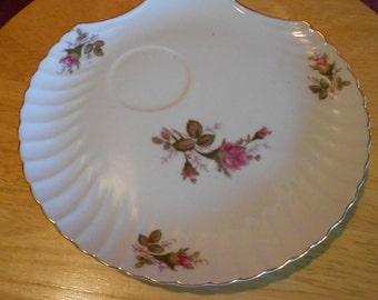 Vintage Dark Pink Rose Snack Trays, Made in Japan, Fan Shaped, Gold Trim, for Entertaining Serving Tray