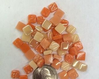 8mm MixedPeach Tiny Glass Mosaic Tiles-50g//Discount Mosaic Supplies//Mini Glass Tiles//micromosaic