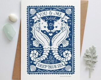 Seahorse Love Card | Anniversary Card | Valentines Card | Nautical Card | Luxury Greetings Card | Fine Art Card