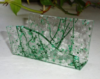 Fused Glass Business Card Holder -  Greens 40116