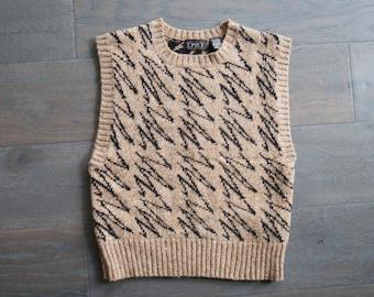 Vintage TOMBOY ZigZag Sweater WOOL 80s Vest (s)