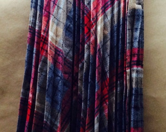 College Town Skirt  Plaid Pleated 24 inch Waist Vintage