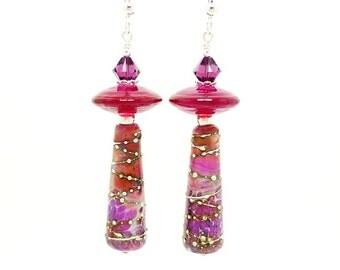 Colorful Pink Purple Tube Earrings, Lampwork Earrings, Drop Earrings, Beadwork Earrings, Glass Beads Earrings, Barrel Earrings