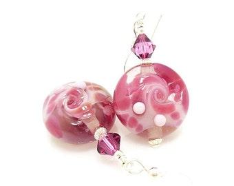 Pink Earrings, Lampwork Earrings, Glass Earrings, Glass Bead Earrings, Beadwork Earrings, Lampwork Jewelry, Glass Bead Jewerly