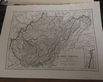 West Virginia vintage map 8 1/2 x 11 approx . Circa 1933.
