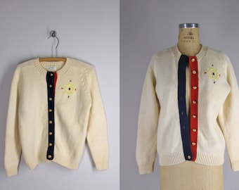 1960s Vintage Sweater l 60s Nautical Embroidered Cardigan