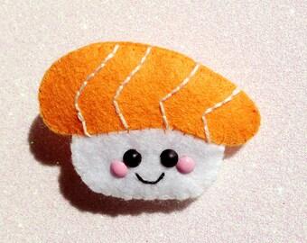 Nigiri Sushi Hair Clip / Brooch, sushi felt accessory, happy sushi brooch, kawaii felt hair clip, happy food accessory, eco friendly felt