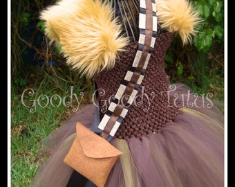 CHEWEY'S TUTU Chewbacca Inspired Tutu Dress with Sash and Wrist Cuffs