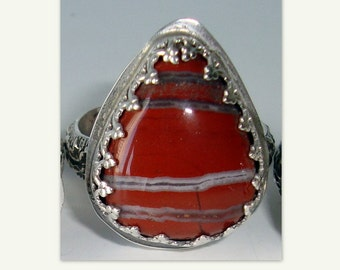 Sterling Silver Ring - Red Creek Jasper Gemstone - Floral Ring Band, Size 11 - Friend, Birthday, Christmas, Celebration, for Yourself