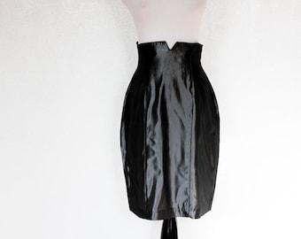 vintage silver grey metallic skirt / high waist, wiggle skirt, lame shimmer