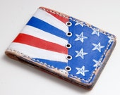 The Freedom Wallet - Handmade Mens Leather Wallet, Vintage, Retro, leather Bifold - Red White and blue with Stars