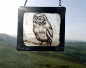 Stained Glass Tiny grumpy Owl - Great Gift!  Suncatcher, home decor