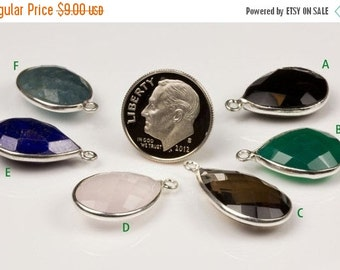 ON SALE Sterling Pendant Smoky Quartz Aquamarine Lapis Green Onyx Black Chalcedony Faceted - Earth Mined - One Pendant