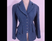 Vintage 1980s Blazer 80s Thierry Mugler Bright Blue Boucle Notched Lapel Blazer