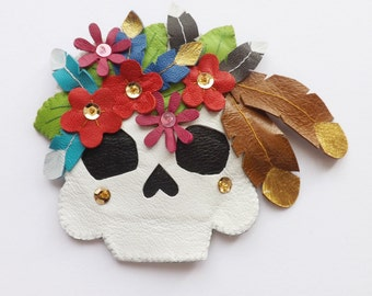 Leather Skull brooch Leather Feathers Skull Jewelry Sugar Skull