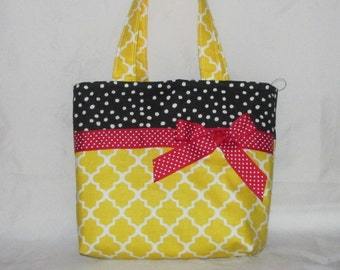 Yellow Latice with Black Polka Dotted Purse~ Small Tote Bag ~Small Purse ~ Tote ~ Girls purse ~ Shoulder Bag ~ Carry All!