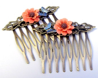 Blue Butterfly Hair Jewelry,Antiqued Brass, Hair Combs,Butterfly Combs,Peach Flower Hair Jewellry,Bride,Bridesmaid,Wedding Accessories, OOAK