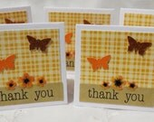 Handmade Mini Thank You Cards Orange Plaid with Flowers and Butterflies Set of 30, Orange Plaid, Mini Cards, Orange Flowers, Butterflies