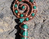 Tranquility///Sacred Spiral/// Chrysocolla, Malachtie, Azurite, Tenorite, and Copper Wire Wrap Pendant, One of a Kind, Handmade, ARt