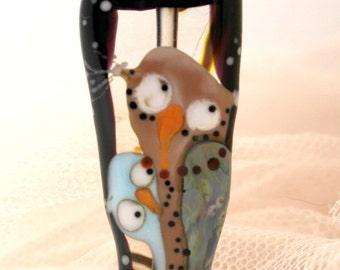 Lampwork Glass owl bead , sra Lampwork bead, artisan handblown owl focal